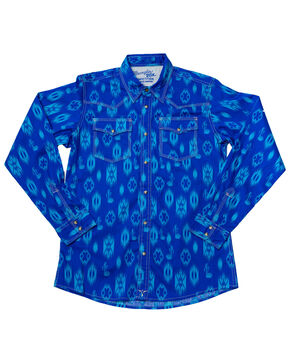 Wrangler Boys' Blue 20X Advanced Comfort Aztec Print Shirt , Blue, hi-res