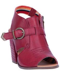 Dingo Women's Stirrup Harness Fashion Booties - Peep Toe, Red, hi-res