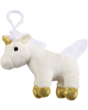 Aurora Plush Unicorn Key Clip, White, hi-res