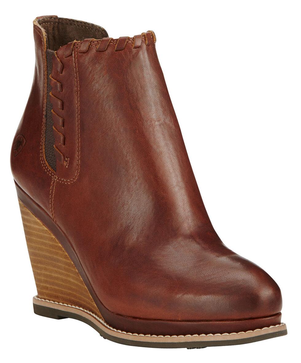 Ariat Women's Cedar Brown Belle Wedge Boots - Round Toe , Cedar, hi-res