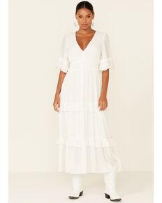 Flying Tomato Women's White Ruffle Tiered Maxi Dress, White, hi-res