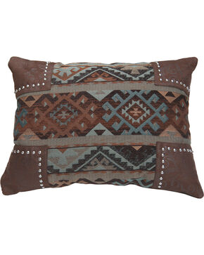 HiEnd Accents Navajo Nailhead Trim Scalloped Chenille Pillow, Multi, hi-res