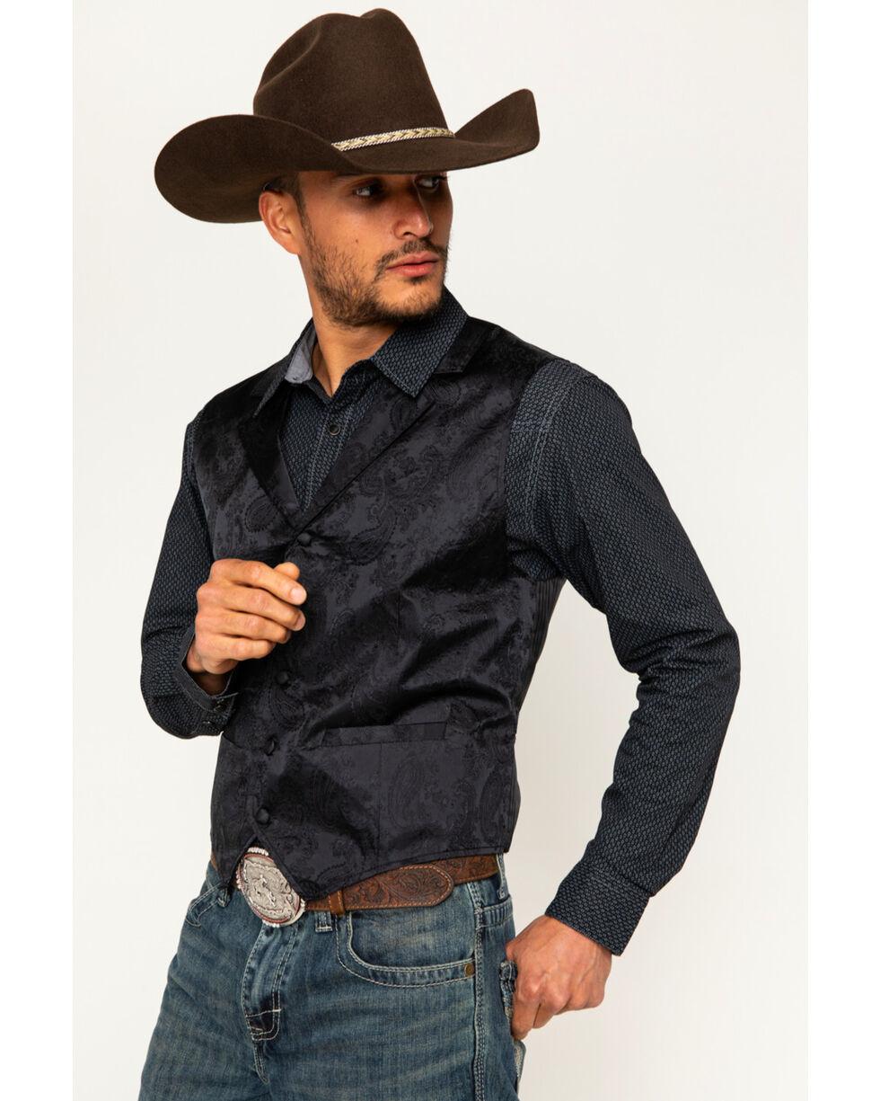 Cody James Men's Black Paisley Print Western Vest , Black, hi-res