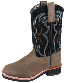 Smoky Mountain Youth Boys' Alex Western Boots - Square Toe, Black/brown, hi-res