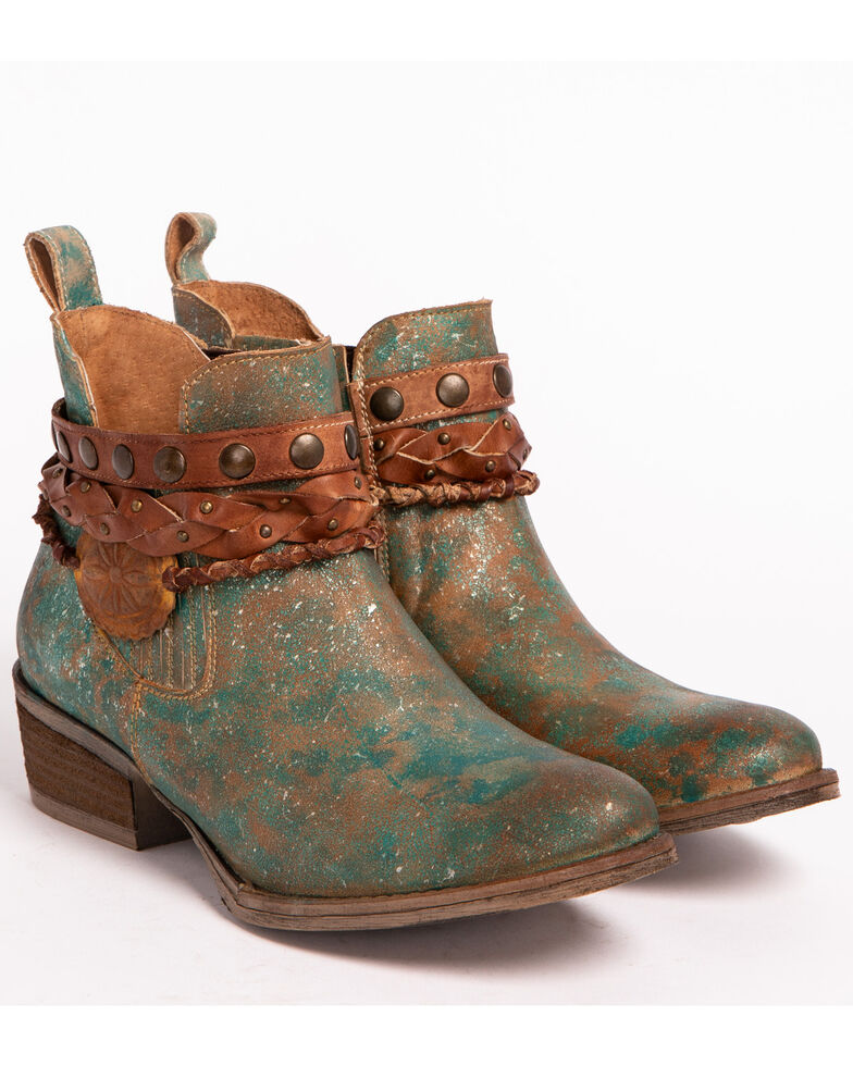Circle G Women's Green Harness and Studded Booties - Round Toe , Green, hi-res