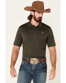 Rock & Roll Denim Men's Solid Forest Green Short Sleeve Polo Shirt , Olive, hi-res