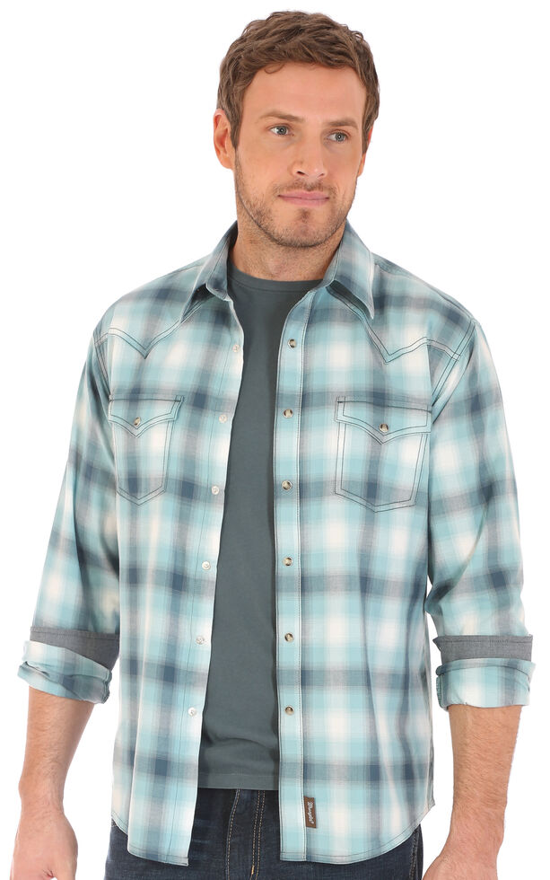 Wrangler Retro Men's Teal Plaid Snap Long Sleeve Western Shirt , Teal, hi-res