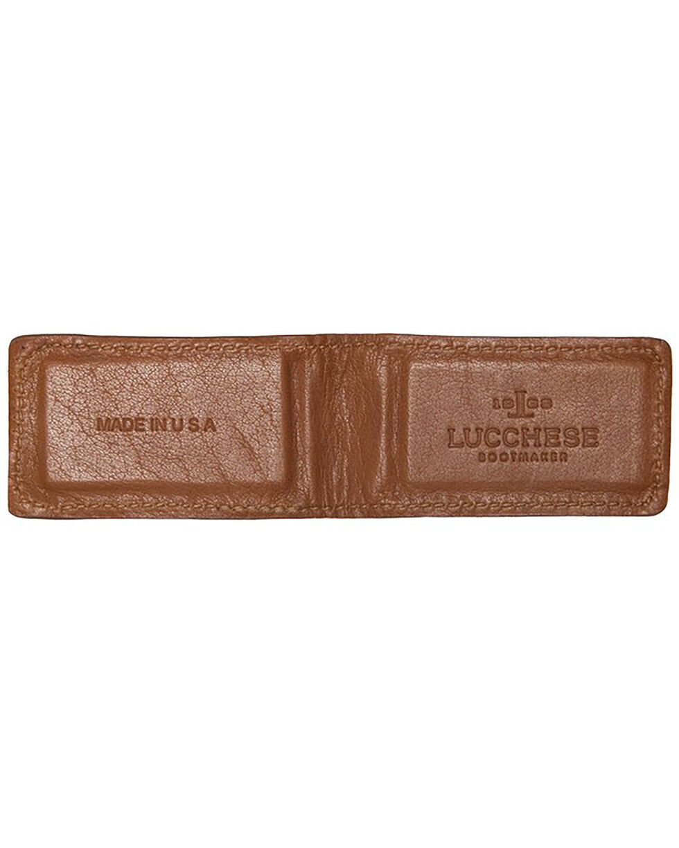 Lucchese Men's Sienna Ostrich Magnetic Money Clip , Cognac, hi-res