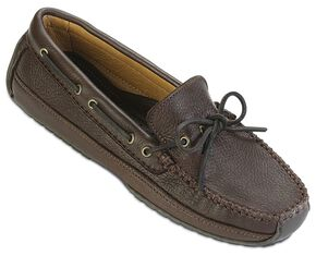 Minnetonka Moosehide Leather Weekend Moccasins, Chocolate, hi-res