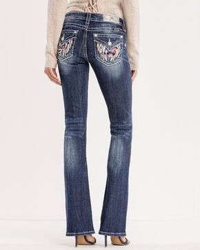 Miss Me Women's Floral Embroidered Jeans - Boot Cut , Blue, hi-res