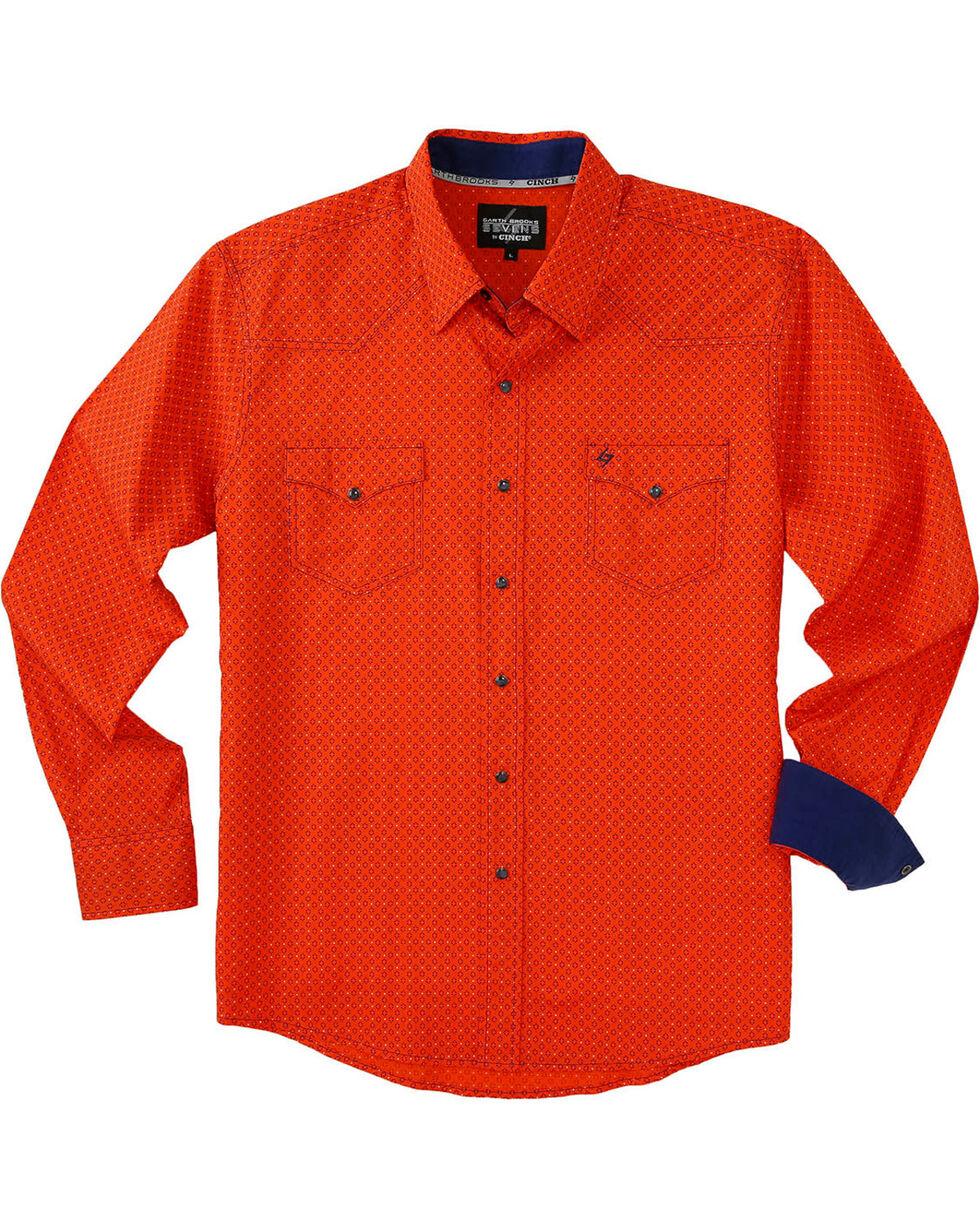Garth Brooks Sevens by Cinch Men's Orange Marble Snap Long Sleeve Shirt , Orange, hi-res