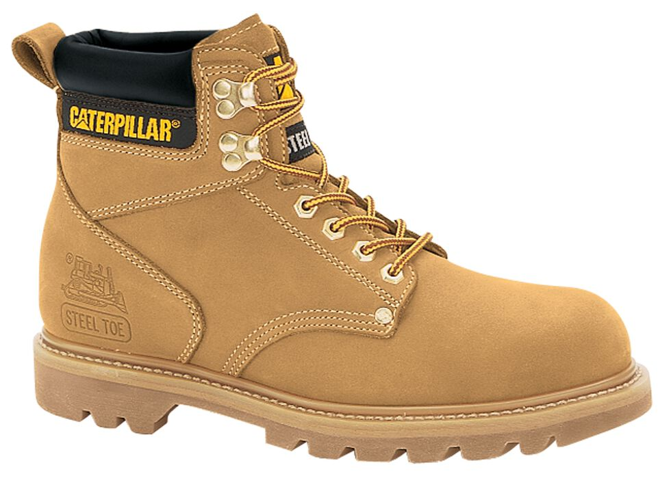 "Caterpillar 6"" Second Shift Lace-Up Work Boots - Steel Toe, Honey, hi-res"