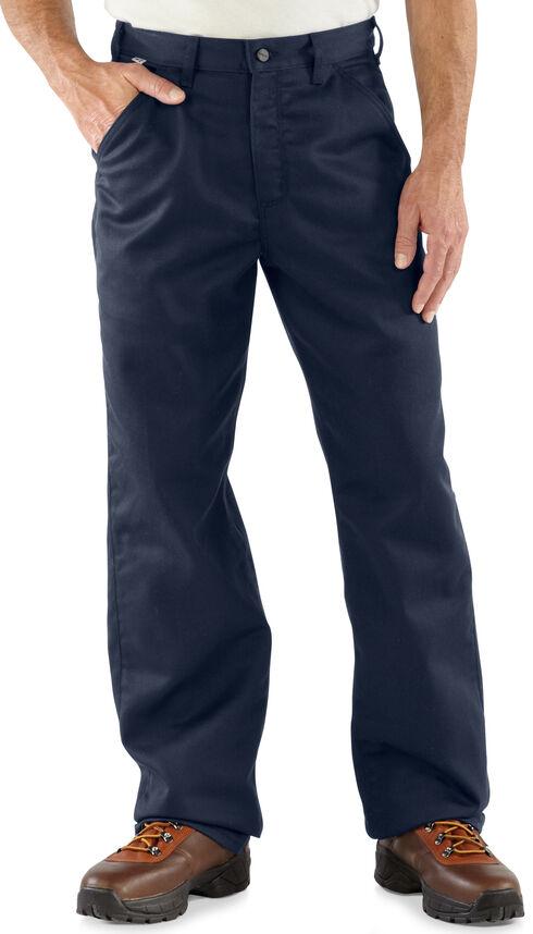 Carhartt Flame Resistant Twill Work Pants - Big & Tall, Navy, hi-res