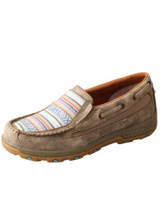 Twisted X Women's CellStretch Boat Shoes - Moc Toe, Tan, hi-res