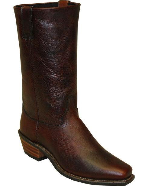 "Abilene Men's 12"" Flat Top Cowhide Western Boots - Square Toe, Brown, hi-res"