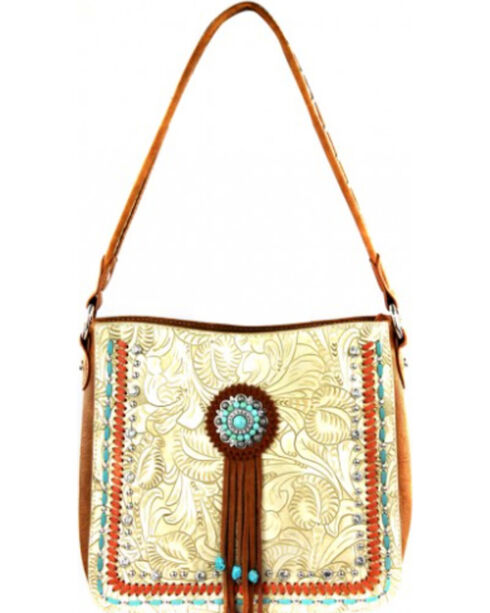 Montana West Beige Concho Collection Hobo Bag, Khaki, hi-res