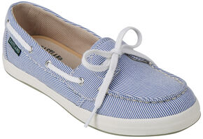 Eastland Women's Blue Stripe Canvas Skip Boat Shoe Slip-Ons , Blue, hi-res