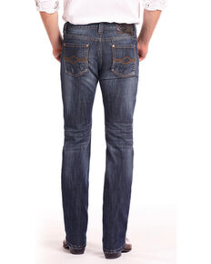 Rock & Roll Cowboy Men's Reflex Revolver Abstract V Straight Jeans , Blue, hi-res