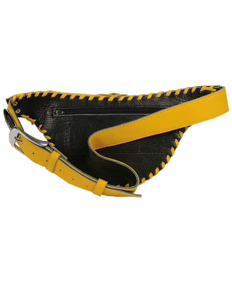 Milwaukee Leather Women's Stone Inlay & Gun Holster Braided Leather Hip Bag, Yellow, hi-res