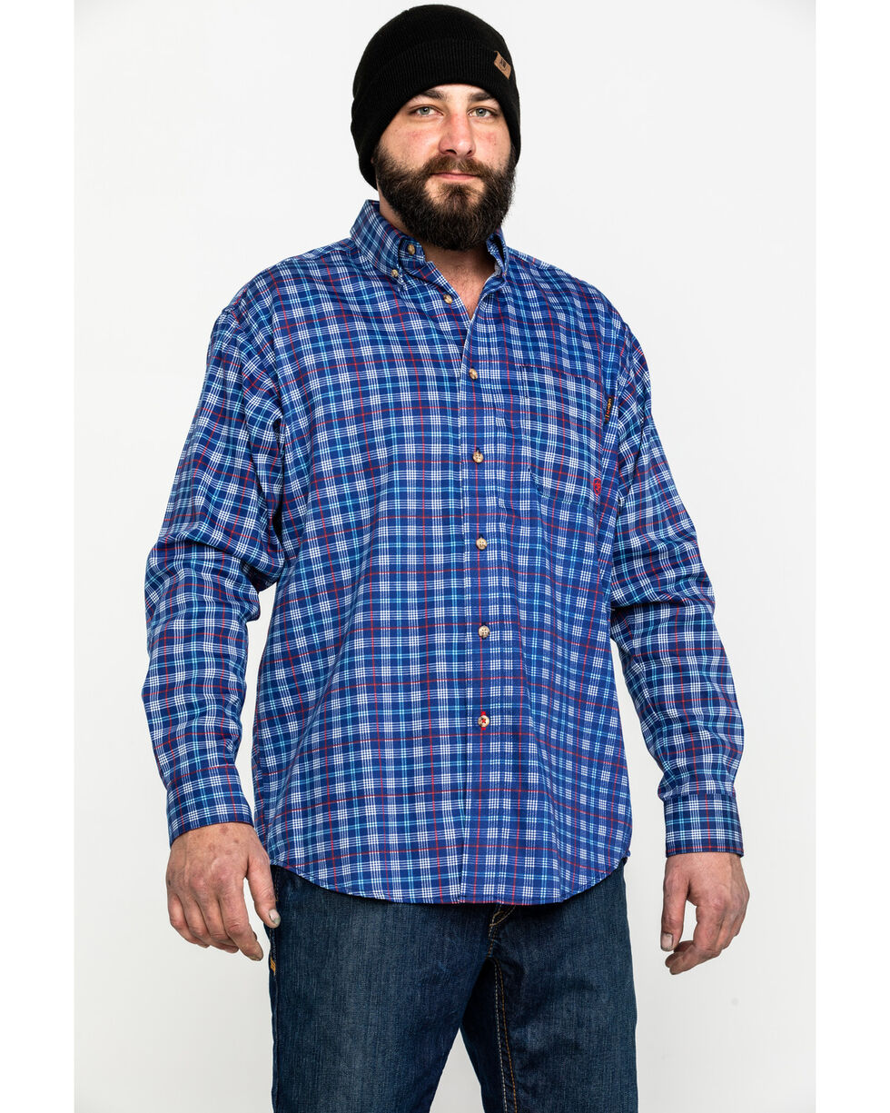 Ariat Men's Collins Blue FR Plaid Button Work Shirt, Blue, hi-res