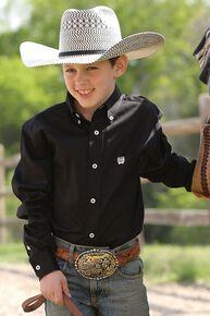 Cinch ® Boys' Black Long Sleeve Shirt, Black, hi-res