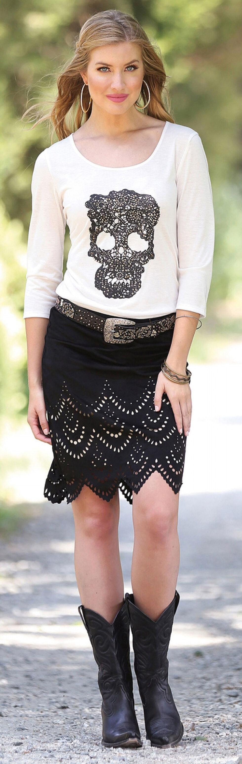 Wrangler Short Faux Suede Laser Cut Skirt, Black, hi-res