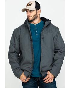 Hawx Men's Shadow Grey Canvas Quilted Bi-Swing Hooded Zip Front Work Jacket , Dark Grey, hi-res