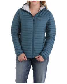 Cinch Women's Teal Mid-Weight Hooded Quilted Down Jacket , Teal, hi-res
