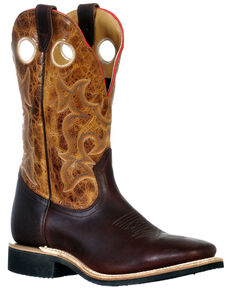 Boulet Men's Grizzly Mountain Western Boots - Wide Square Toe, Cognac, hi-res