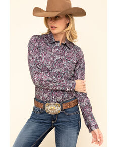 Cinch Women's Purple Paisley Snap Long Sleeve Western Shirt, Purple, hi-res