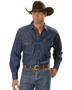 Ely Cattleman Men's Denim Long Sleeve Western Shirt, Denim, hi-res