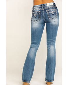 Miss Me Women's Light Wash Mixed Stitch Border Bootcut Jeans, Blue, hi-res