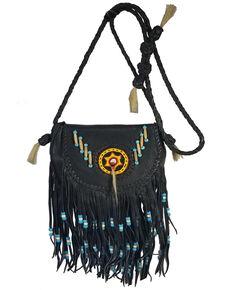 Kobler Leather Women's Black Rossette Crossbody Bag, Black, hi-res