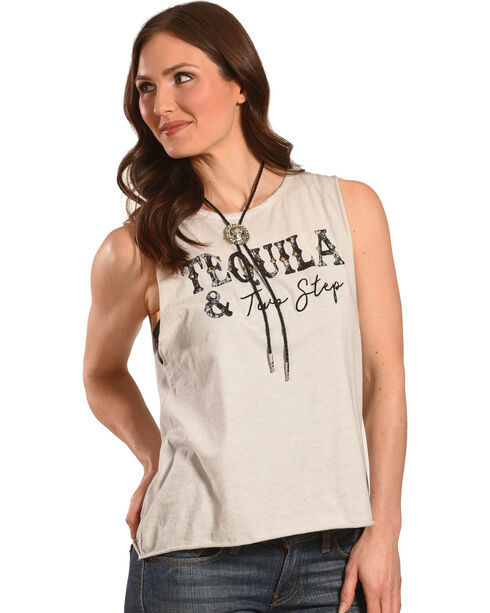 Z Supply Women's Ivory Tequila Two Step Muscle Tank, Ivory, hi-res
