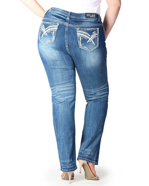 Grace In LA Women's Medium Straight Leg Jeans- Plus Size , Blue, hi-res