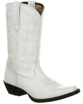 Durango Women's Porcelain Western Boots - Narrow Square Toe, White, hi-res