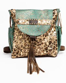 Keep It Gypsy Women's Rosie Gold Leopard Backpack, Brown, hi-res