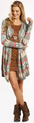 Rock and Roll Cowgirl Women's Open Front Aztec Cardigan , Print, hi-res