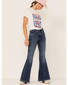 Wrangler Women's Wyetta Bareback Yoke Medium Wash High Rise Flare Jeans, Blue, hi-res