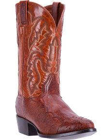 Dan Post Men's Cognac Pugh Ostrich Leather Boots - Medium Toe, Cognac, hi-res