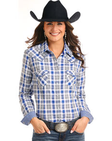 aa4a50d7 Rough Stock by Panhandle Womens Blue Plaid Western Shirt, Blue, hi-res