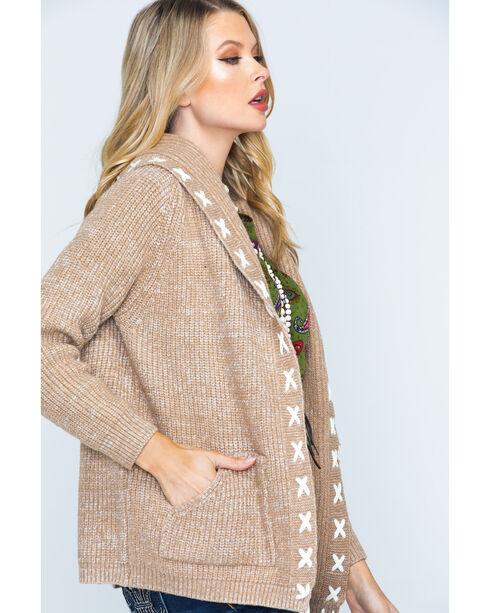 Polagram Women's 3/4 Sleeve Hooded Cardigan, Brown, hi-res