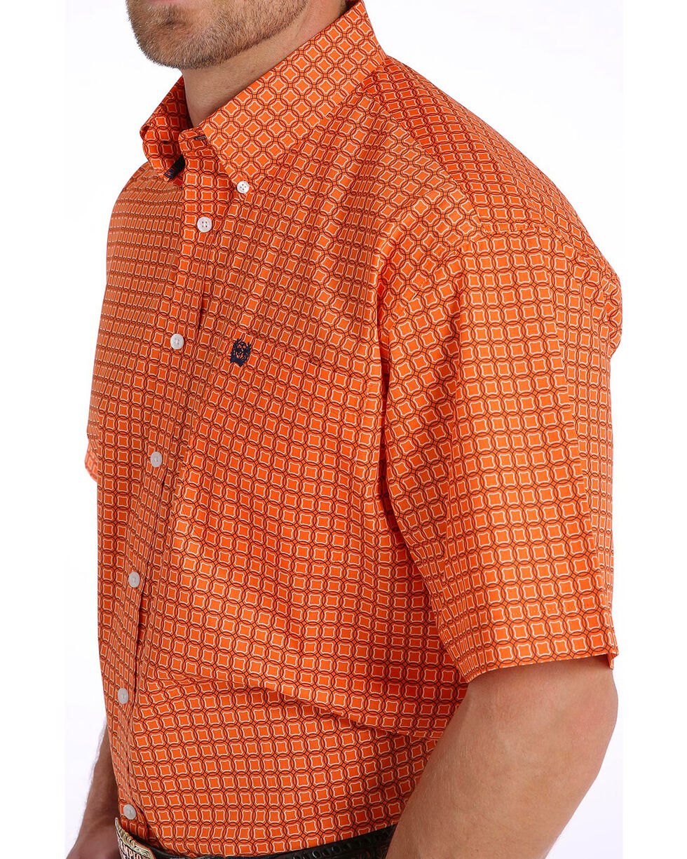 Cinch Men's Orange Print Short Sleeve Button Down Shirt, Orange, hi-res