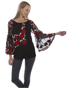 26d7d1facb81cb Honey Creek by Scully Womens Mesh Lined Floral Embroidered Blouse