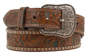 Ariat Tapered Embossed Belt, Tan, hi-res