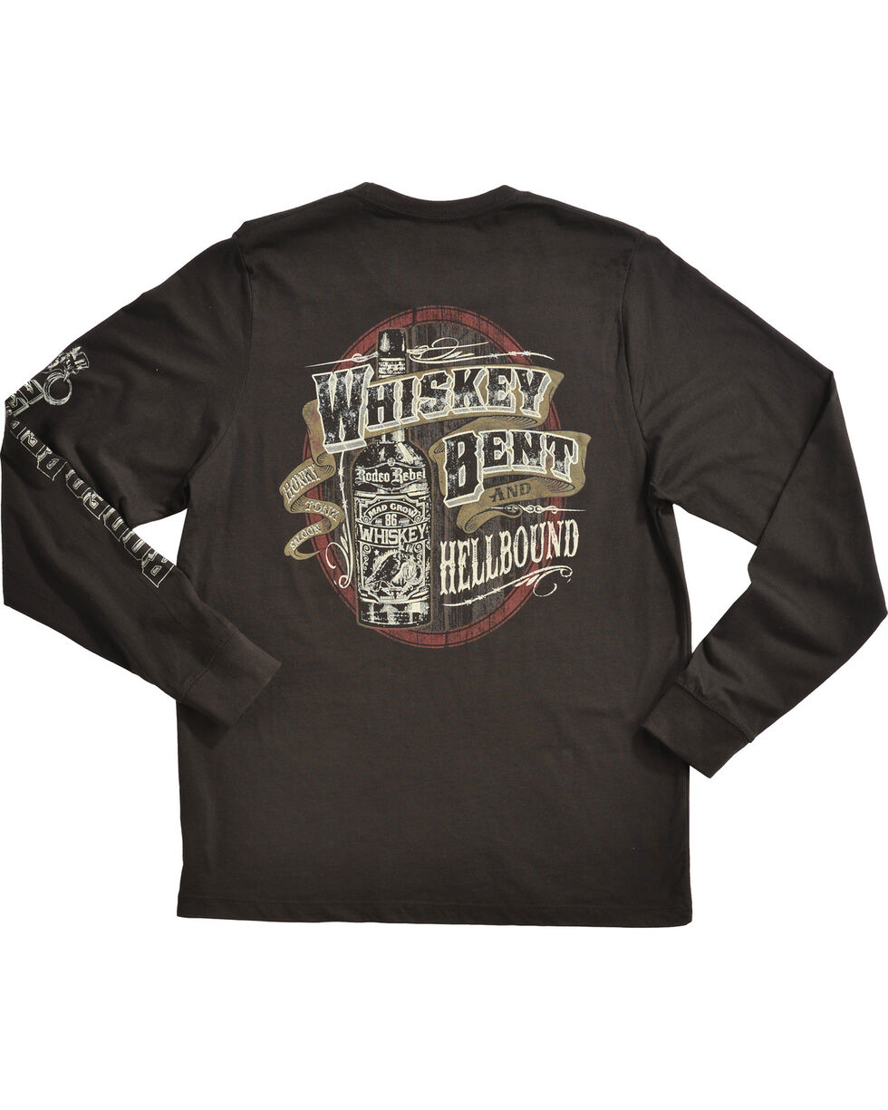 Rodeo Rebel Men's Whiskey Bent and Hellbound Long Sleeve T-Shirt, Black, hi-res