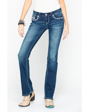 Grace In LA Women's Thick Stitch Feather Pocket Boot Jeans- Plus Size, Indigo, hi-res