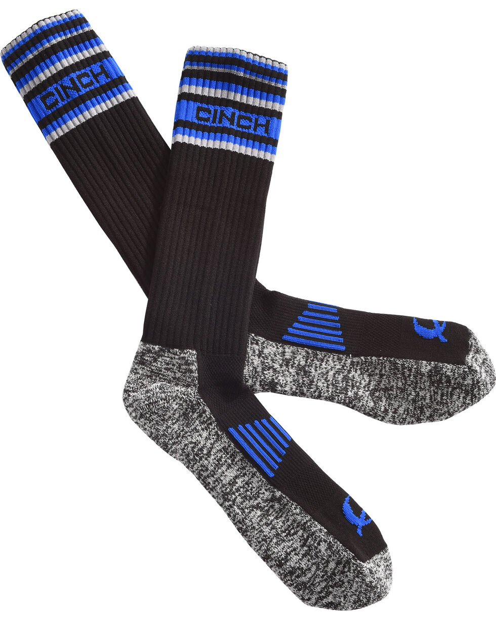 Cinch Men's Black Performance Boot Socks, Black, hi-res