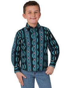 Wrangler Boys' Teal Striped Checotah Print Long Sleeve Western Shirt , Teal, hi-res