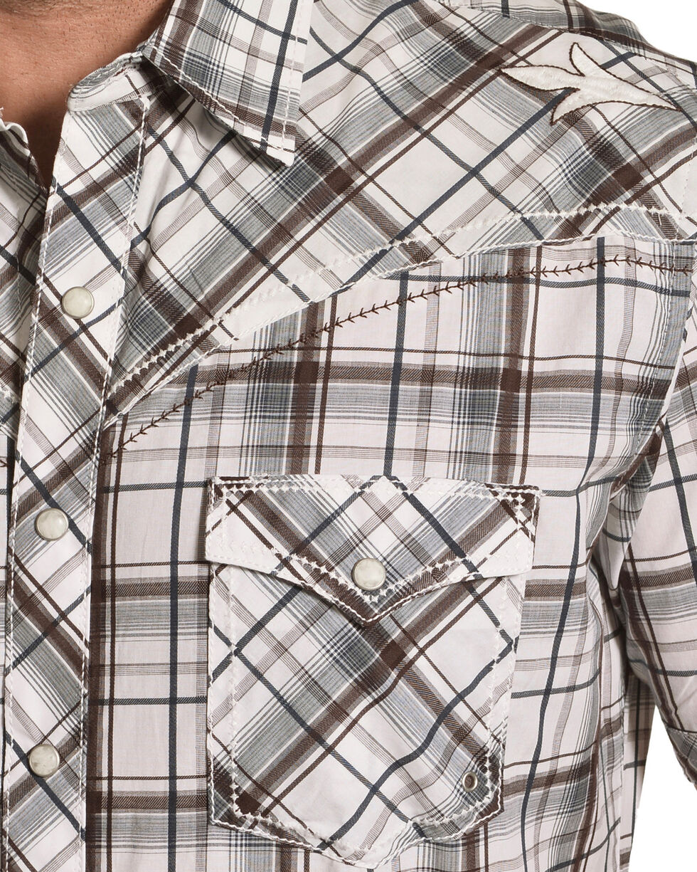 Wrangler Rock 47 Men's Brown Short Sleeve Plaid Shirt , Brown, hi-res